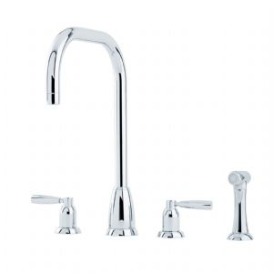4893 Perrin & Rowe Callisto Four Hole Sink Mixer Tap U Spout Lever Handles and Rinse